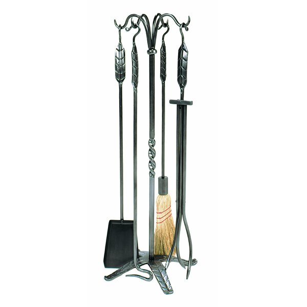 4 Piece Large Leaf Wrought Iron Fireplace Tool Set by Minuteman International