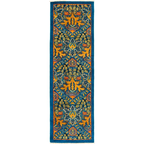 One-of-a-Kind Dewsbury Hand Knotted Wool Blue Area Rug by Isabelline