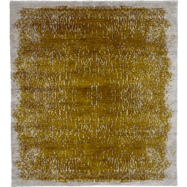 One-of-a-Kind Eloisa Hand-Knotted Traditional Style Yellow 10' x 14' Area Rug
