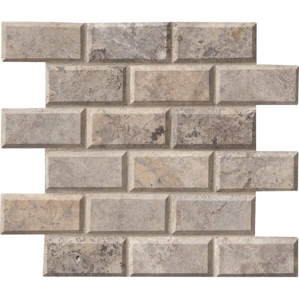 Silver Travertine 2 x 4 Beveled Travertine Mosaic Tile in Gray by MSI