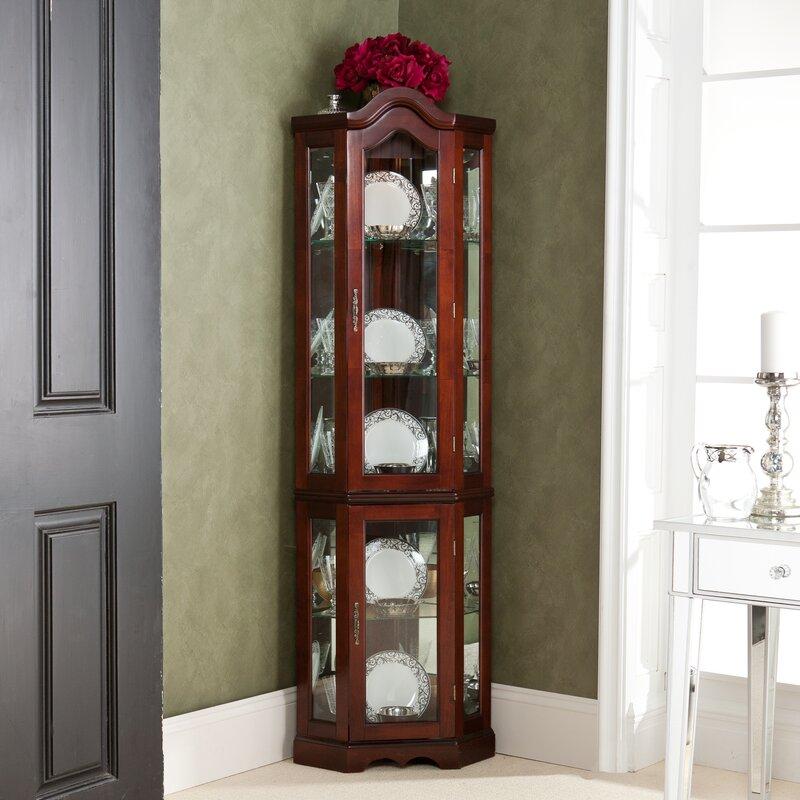 Red Barrel Studio Glacier Lighted Corner Curio Cabinet
