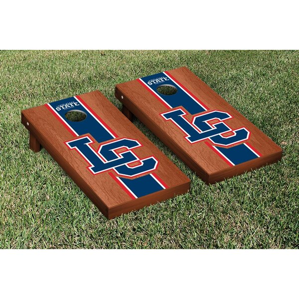 NAIA Lewis Clark Warriors Rosewood Stained Stripe Version Cornhole Game Set by Victory Tailgate