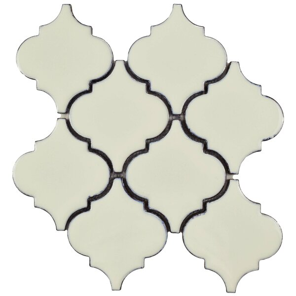 Essentia 4.58 x 5.2 Porcelain Mosaic Tile in Ivory by EliteTile