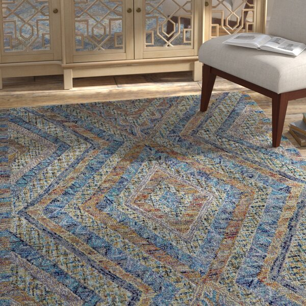 Haeli Hand-Tufted Blue/Gray Area Rug by Bloomsbury Market