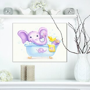 U0027Bathing Baby Elephant Bathroomu0027 Print On Wrapped Canvas