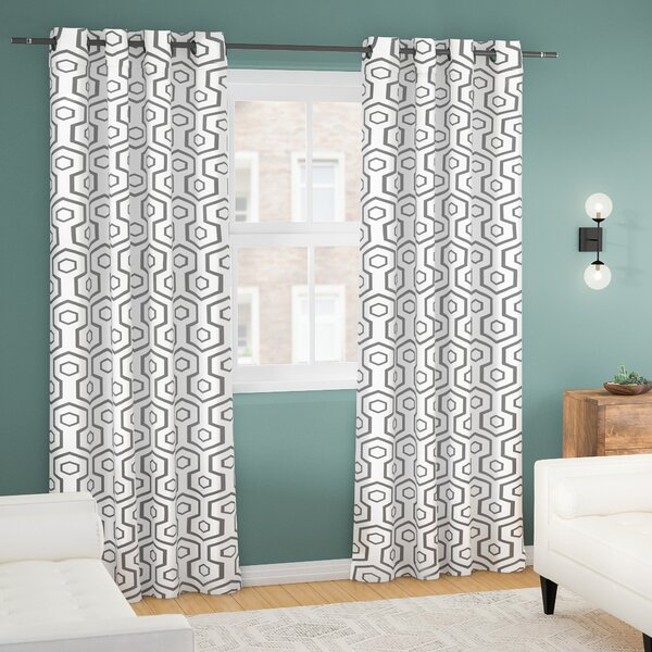 Marnie Geometric Blackout Thermal Grommet Curtain Panels (Set of 2) by Langley Street