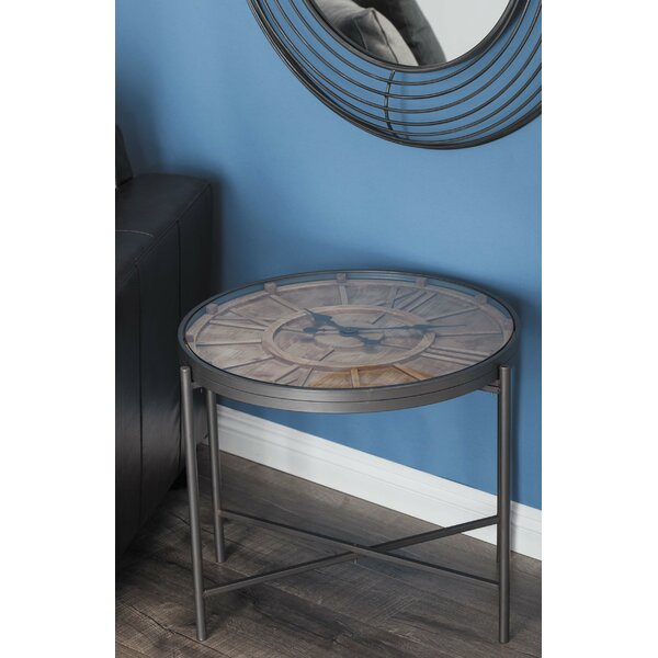 Metal/Wood Clock End Table by Cole & Grey