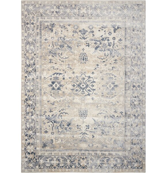 Malta Ivory/Blue Area Rug by Kathy Ireland Home