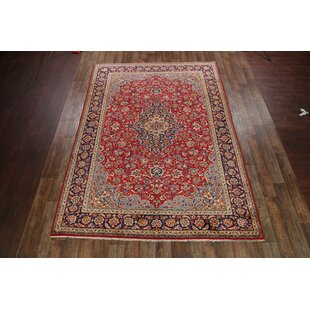 Find for One-of-a-Kind Mazur Traditional Najafabad Isfahan Persian Hand-Knotted 9'4 x 13' Wool Blue/Burgundy Area Rug By Isabelline