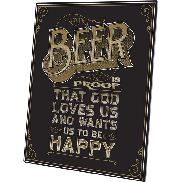 Beer is Proof That God Loves Us Textual Art Plaque in Black by Click Wall Art
