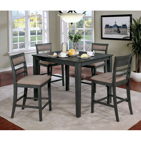 Opalstone 5 Piece Counter Height Solid Wood Dining Set by Gracie Oaks