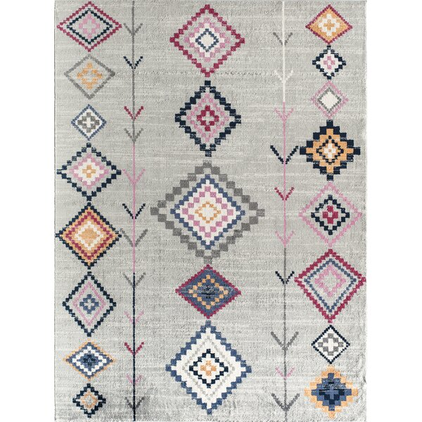 Moroccan Tanner Tribal Light Gray Area Rug by CosmoLiving by Cosmopolitan