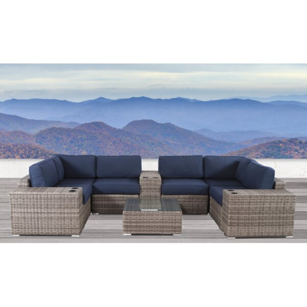 Lazaro 10 Piece Rattan Sectional Seating Group with Sunbrella Cushions by Sol 72 Outdoor