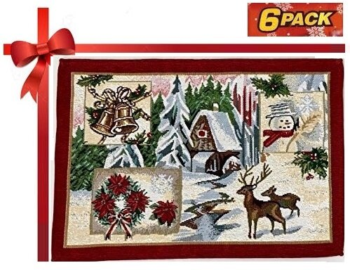 Holiday Tapestry Christmas Scenery Place-mat (Set of 6) by The Holiday Aisle