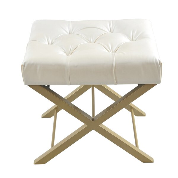 Bonded Faux Leather Cross Stool by Fashion N You by Horizon Interseas