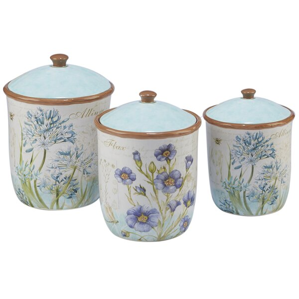 Herb Blossoms 3 Piece Kitchen Canister Set By August Grove.