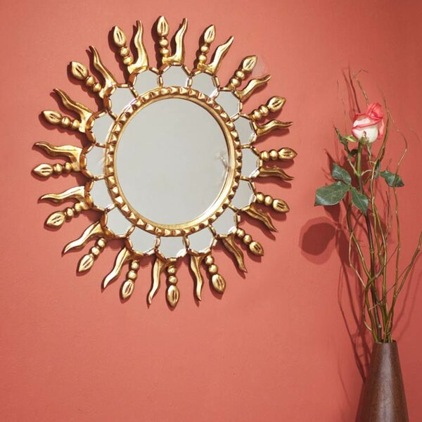 Gilded Mohena Wood Wall Mirror by Novica