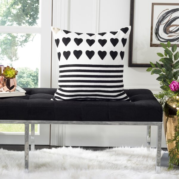 Dedrik Striped Heart Cotton Throw Pillow by House of Hampton