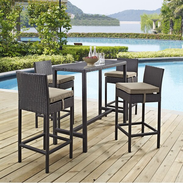 Ryele 5 Piece Bar Height Dining Set with Cushion b