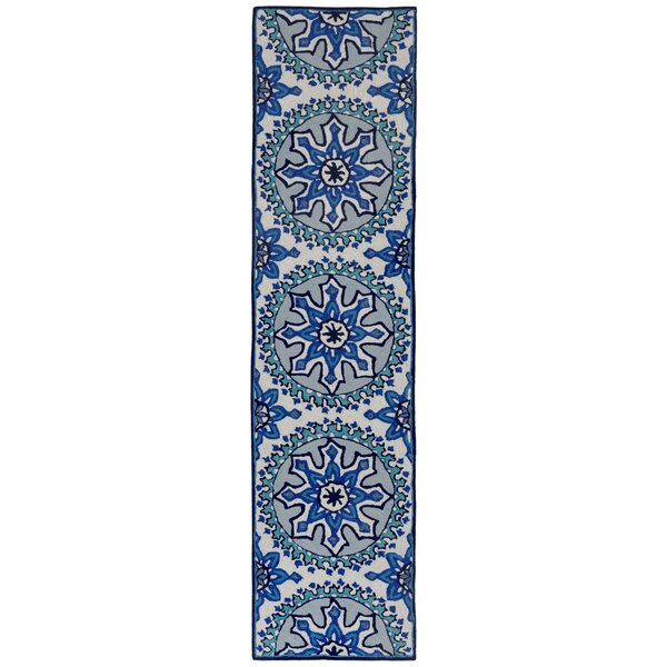 Petterson Moroccan Medallion Hand-Tufted Blue/Aqua Indoor/Outdoor Area Rug by Bungalow Rose