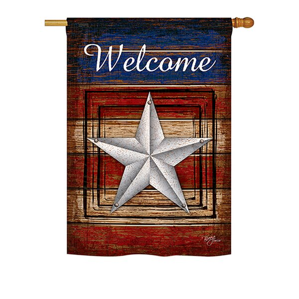 Vintage Welcome 2-Sided Vertical Flag by Breeze Decor