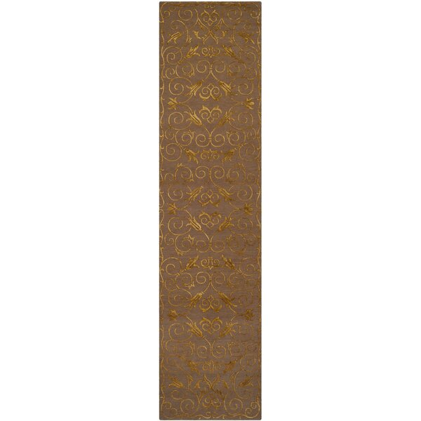 Longchamps Hand-Knotted Brown Area Rug by House of Hampton