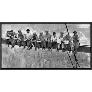 'New York Construction Workers Lunching on a Crossbeam, 1932' by Charles C. Ebbets Framed Photographic Print by Global Gallery