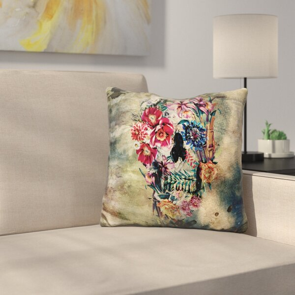 Skull on Old Grunge Throw Pillow by East Urban Home