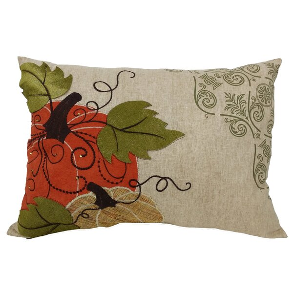 Pumpkin Embroidered Suede Accents Lumbar Pillow by Xia Home Fashions