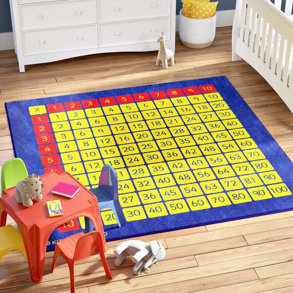 Brenna 100 Square Multiplication Grid Kids Rug by Zoomie Kids