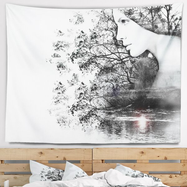 Landscape Woman and Beauty of Nature Tapestry and Wall Hanging by East Urban Home