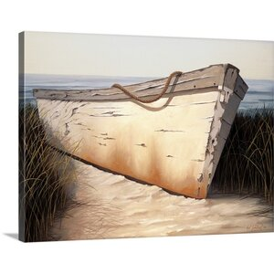 White Boat by Karl Soderlund Painting Print on Wrapped Canvas by Great Big Canvas