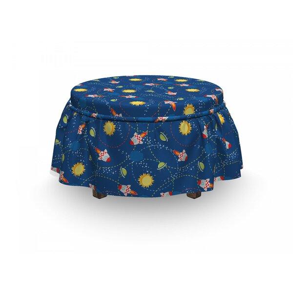 Space Little Cartoon Rocket 2 Piece Box Cushion Ottoman Slipcover Set By East Urban Home