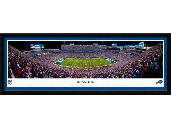 NFL Buffalo Bills 50 Yard Line Night Game Framed Photographic Print by Blakeway Worldwide Panoramas, Inc
