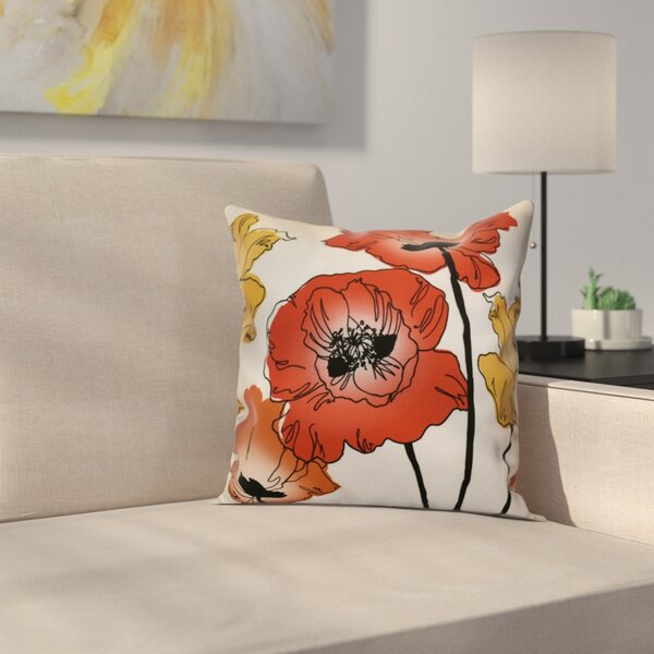 Poppies Floral Outdoor Throw Pillow by East Urban Home