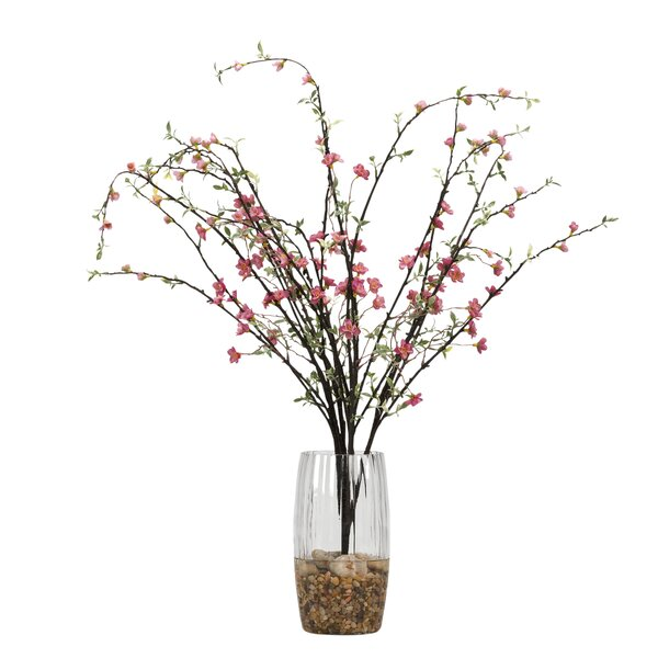 Peach Blossom Branches Floor Flowering Plant in Decorative Vase by Gracie Oaks