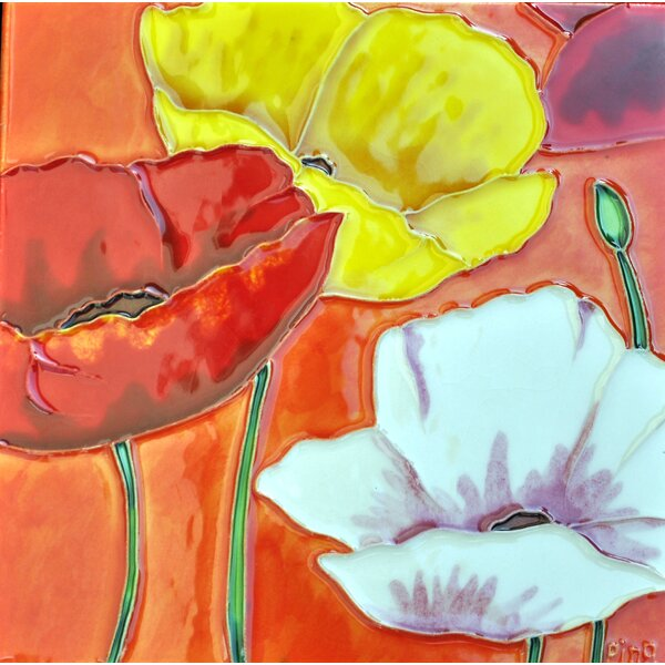 3 Poppies with Orange Background Tile Wall Decor by Continental Art Center