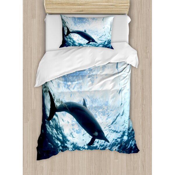 Sea Animals Bottlenose Dolphin Poops in Ocean Marine Underwater Aquatic Wildlife Theme Duvet Set by Ambesonne