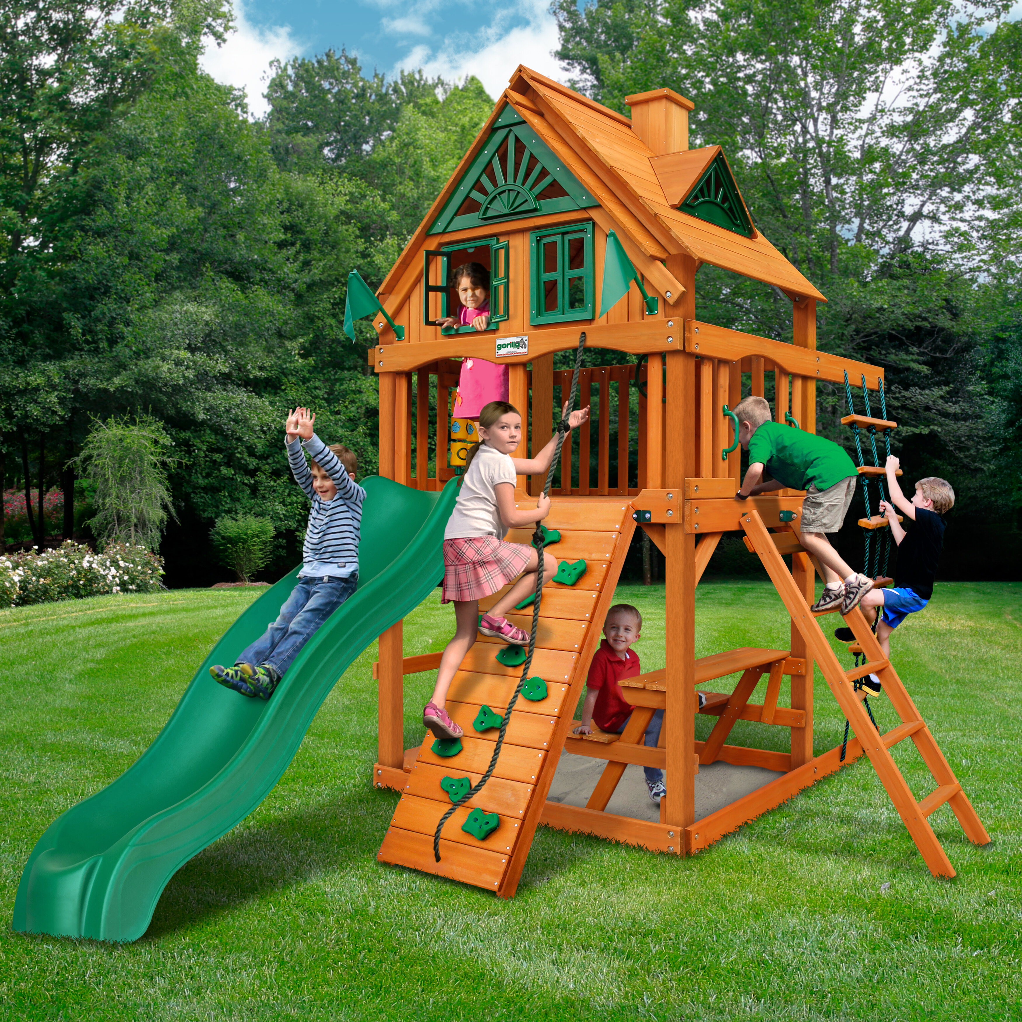 Gorilla Playsets Chateau Tower Treehouse Swing