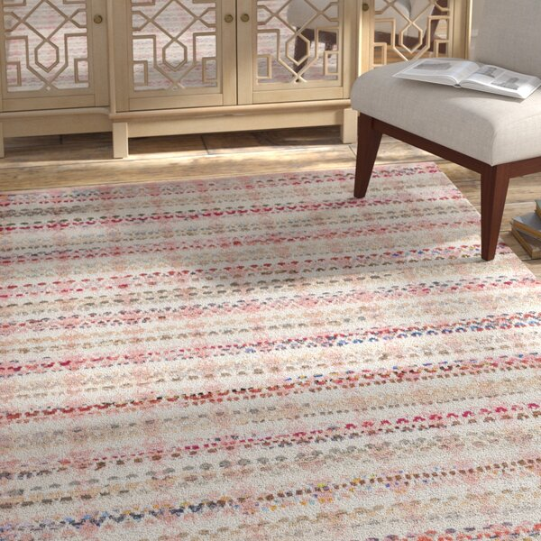 Bester Hand-Woven Cotton Pink/White Area Rug by Bungalow Rose