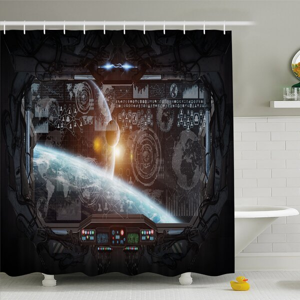 Outer Space, Control Panel of Cockpit Screen in Spaceflight Androids World Stardust Shower Curtain Set by Ambesonne