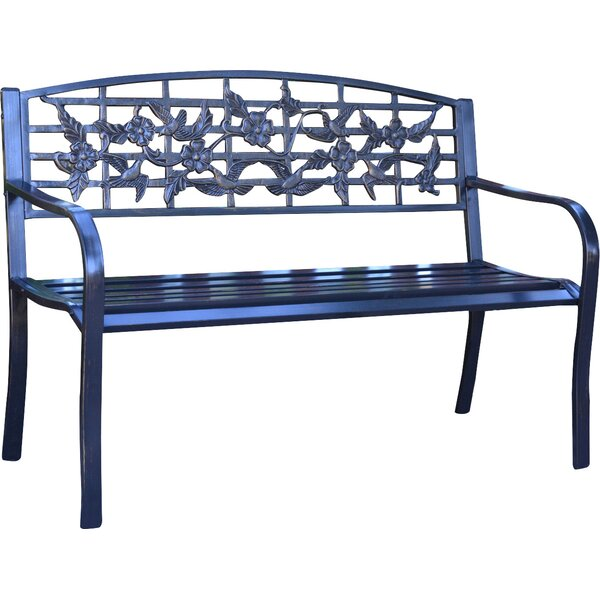Flowers and Bird Curved Back Metal Park Bench by J