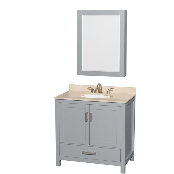 Sheffield 36 Single Gray Bathroom Vanity Set with Medicine Cabinet by Wyndham Collection