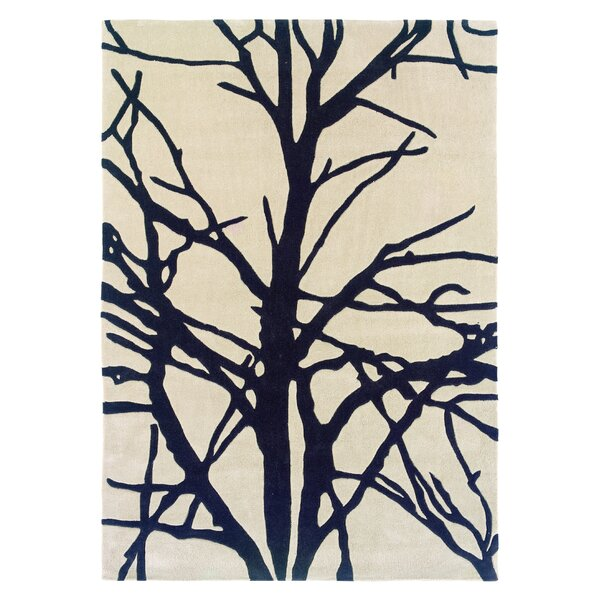 Parker Hand-Tufted Cream/Charcoal Area Rug by Wrought Studio