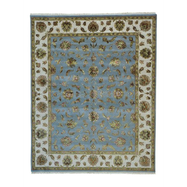 One-of-a-Kind Elmsford Sky Rajasthan Oriental Hand-Knotted Silk Blue Area Rug by World Menagerie