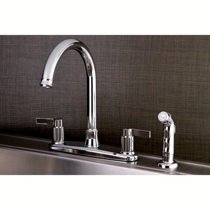 Kingston Brass NuvoFusion Centerset Double Handle Kitchen Faucet with Side Spray
