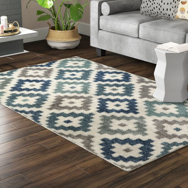 Havertown Diamond Head Blue/Ivory/Gray Area Rug by Mercury Row