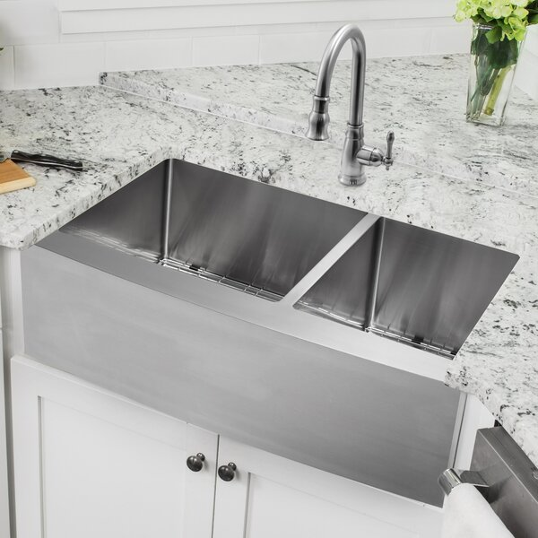 36 L x 21 W Double Basin Apron Kitchen Sink with Faucet and Soap Dispenser by Cahaba