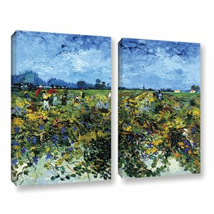 Green Vineyard by Vincent Van Gogh 2 Piece Painting Print on Wrapped Canvas Set by ArtWall