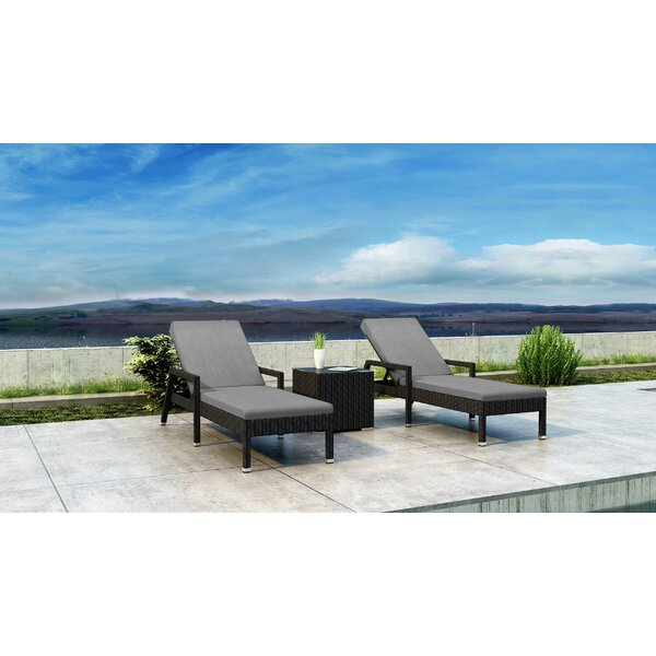 Glendale Sun Lounger Set with Cushions and Table by Everly Quinn